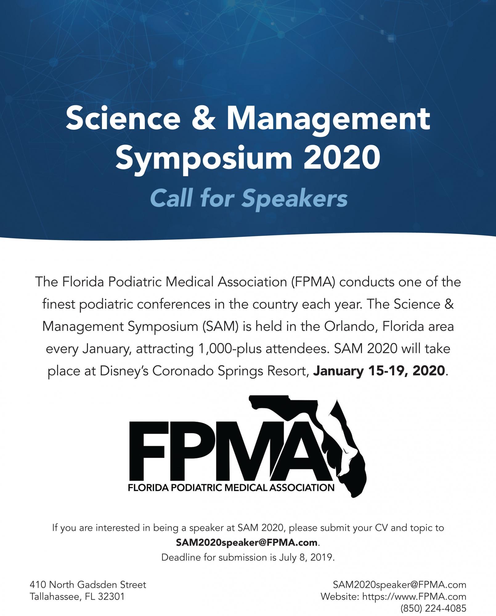 SAM 2020 Call for Speakers Info